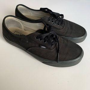 Vans Low All Black Colorway Gum Bottom Used Size 8